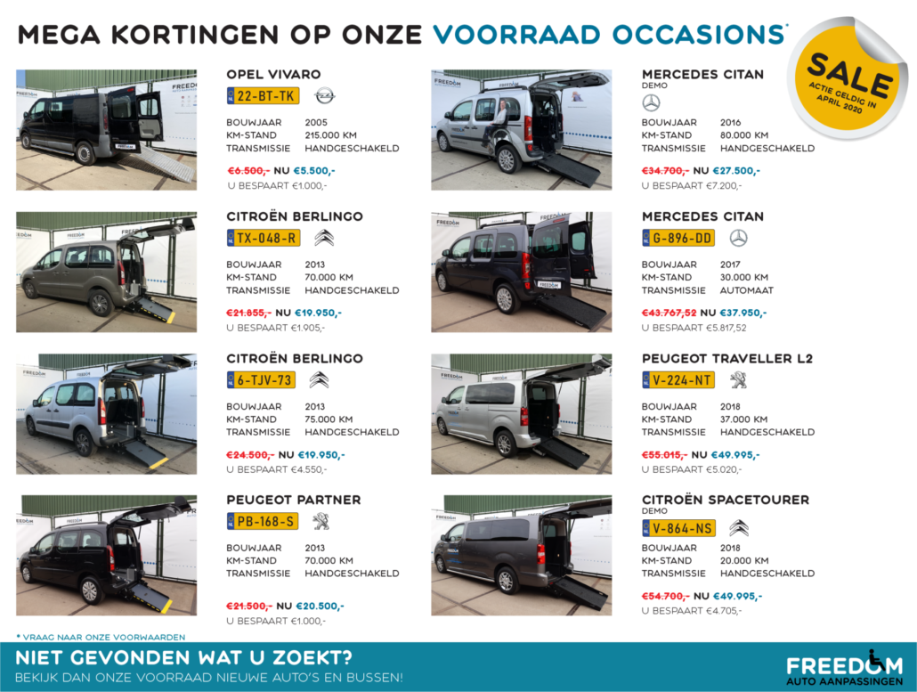 MEGAKORTING Freedom Auto Aanpassingen april 2020